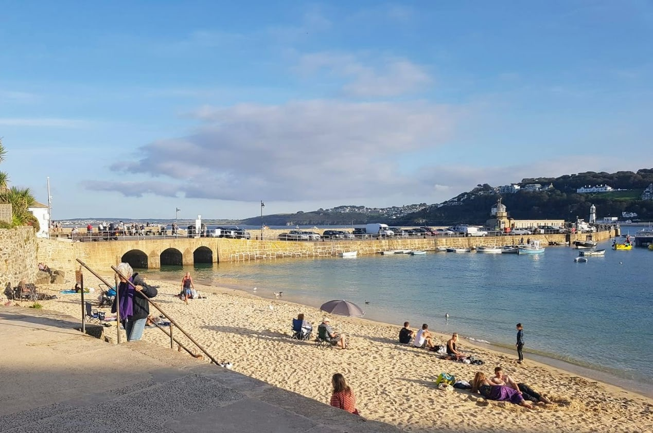 St Ives Harbour beach during summer of 2019.