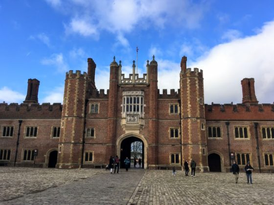 The exterior of Hampton Court Palace in London, England