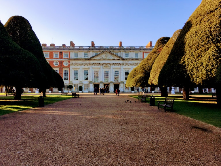 Exterior and gardens of Hampton Court Palace in January