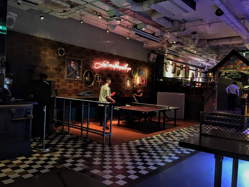 People playing ping-pong at Bounce, London.