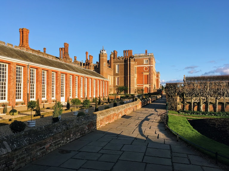Exterior of Hampton Court Palace, one of the most famous palaces in London