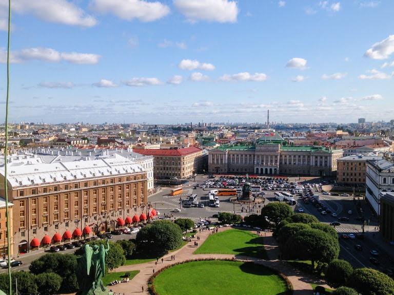 The view from St Isaac's Cathedral in St Petersburg