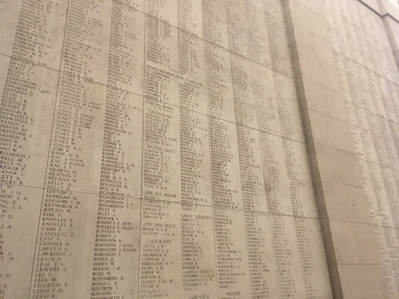Names on the walls of the Menin Gate in Ypres/Ieper, Belgium