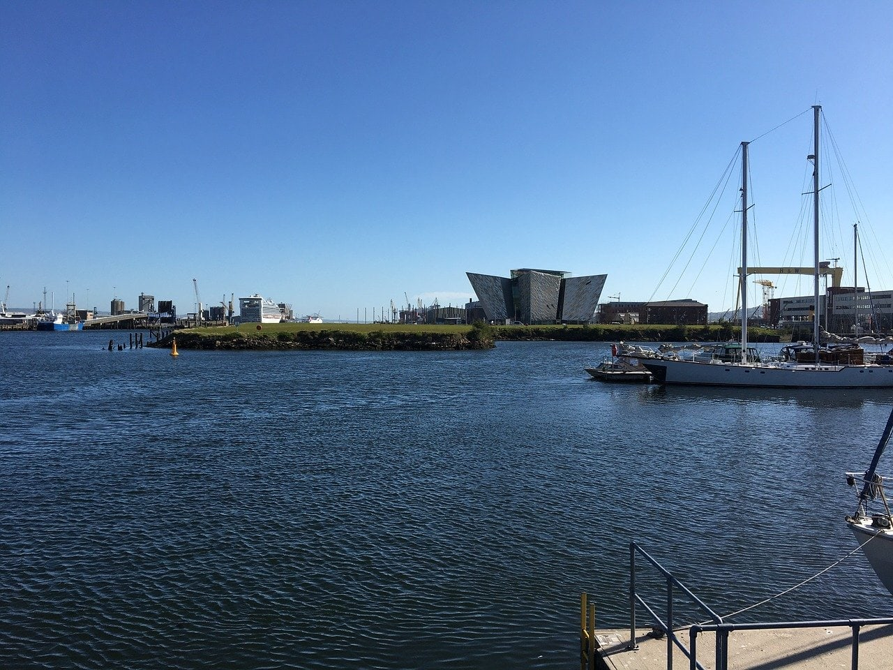 The Titanic Quarter in Belfast, showing the waterfront and the Titanic Museum