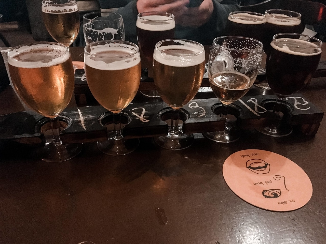 Tasting Paddle of Belgian beers at Le Trappiste
