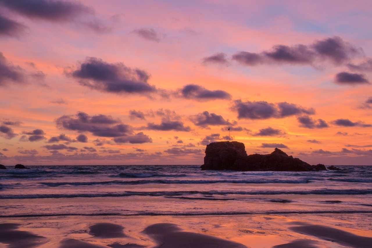 Sunset at Perranporth Beach is a highlight of Perranporth holidays