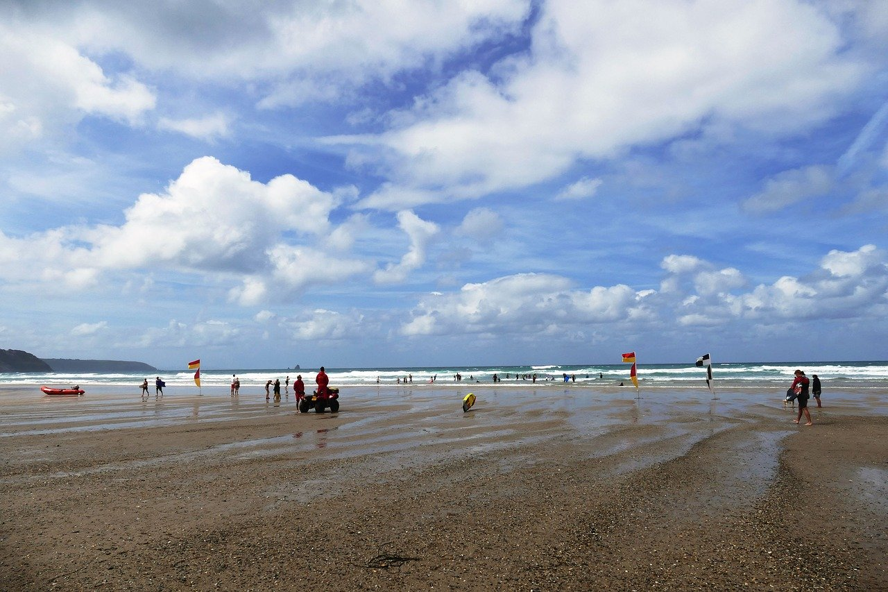 Perranporth beach from Perran Sands holiday park which includes camping and caravans.