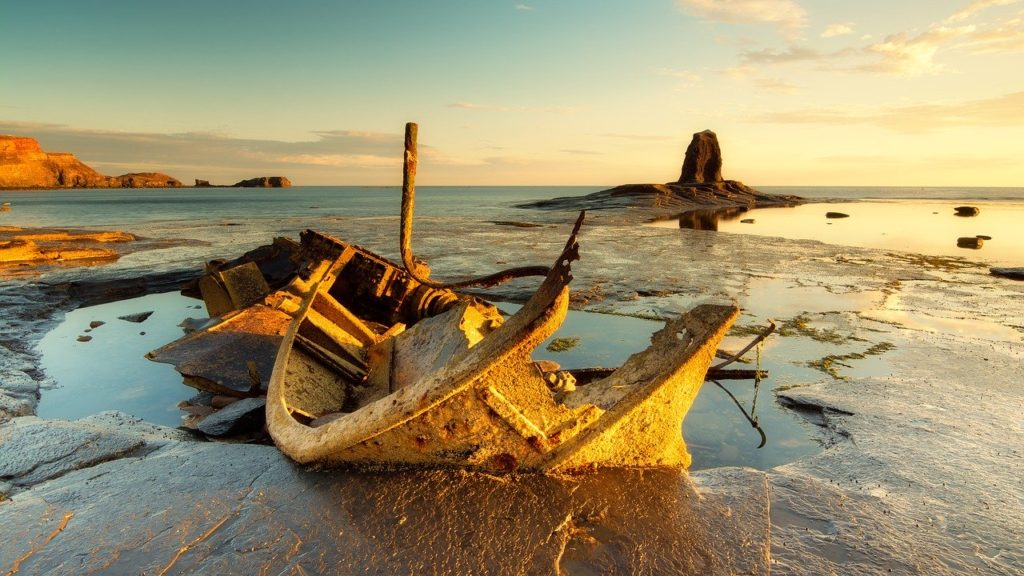 Wreck of the Admiral Von Tromp ship in Saltwick Bay near Whitby, one of the most unusual things to do in North Yorkshire
