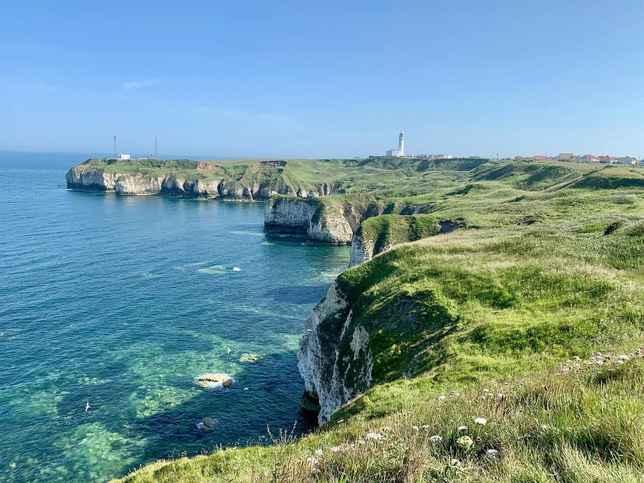 Hiking at Flamborough Head in the East Riding of Yorkshire
