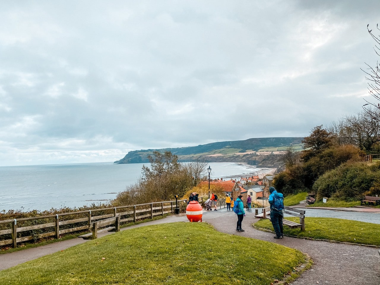 Overlooking Robin Hood's Bay on a North Yorkshire coast road trip day out.