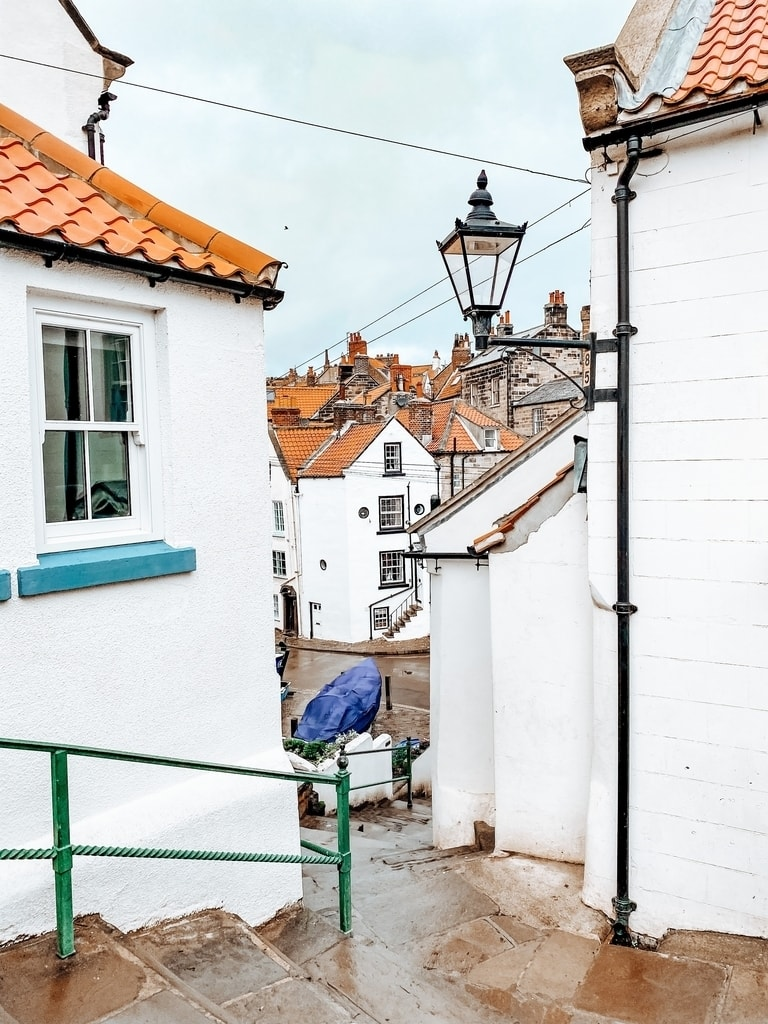 Fishing village cottages at the seaside on the North Yorkshire Coast