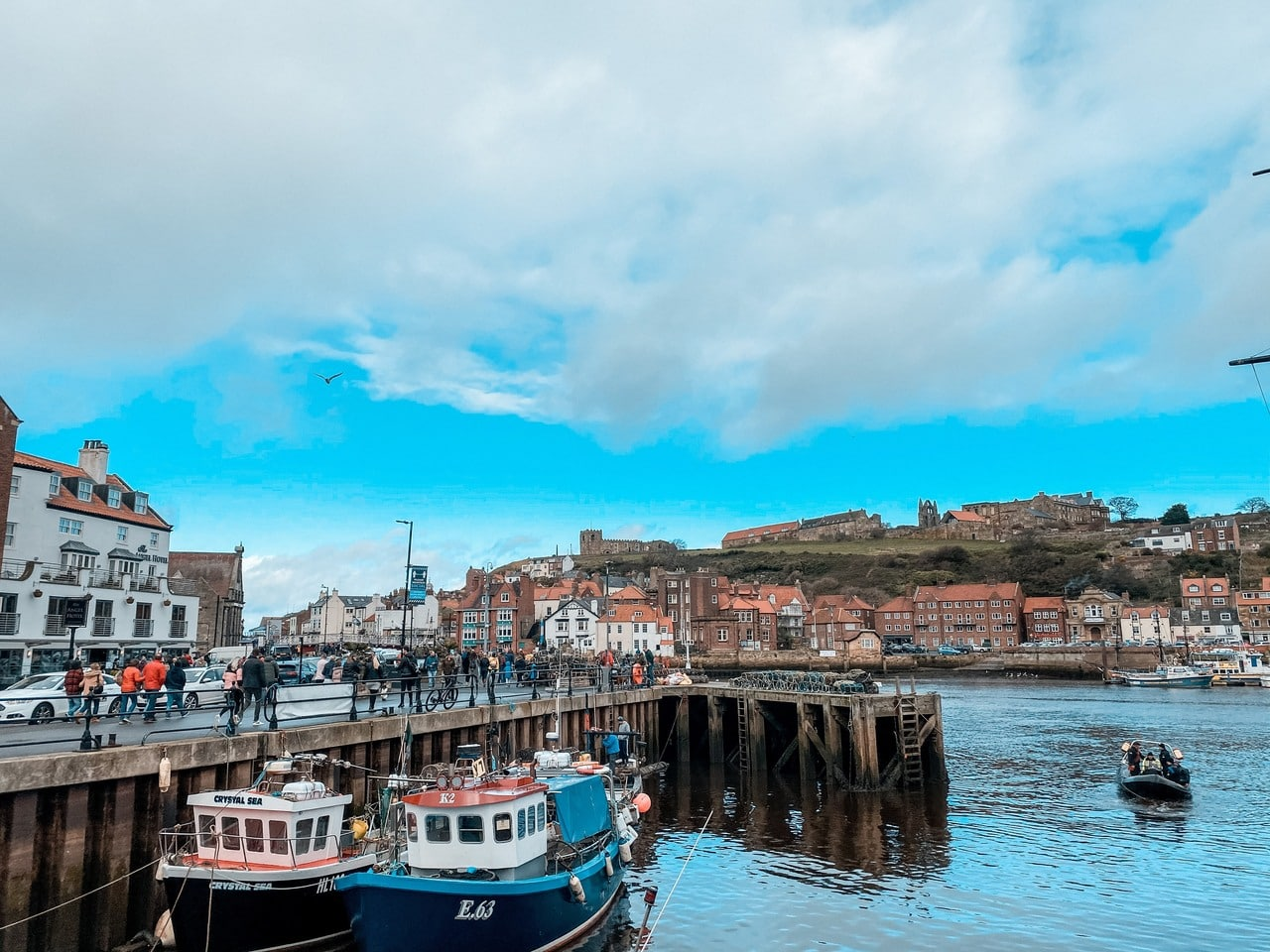 Boats in Whitby town centre on the North Yorkshire Coast, Yorkshire, England