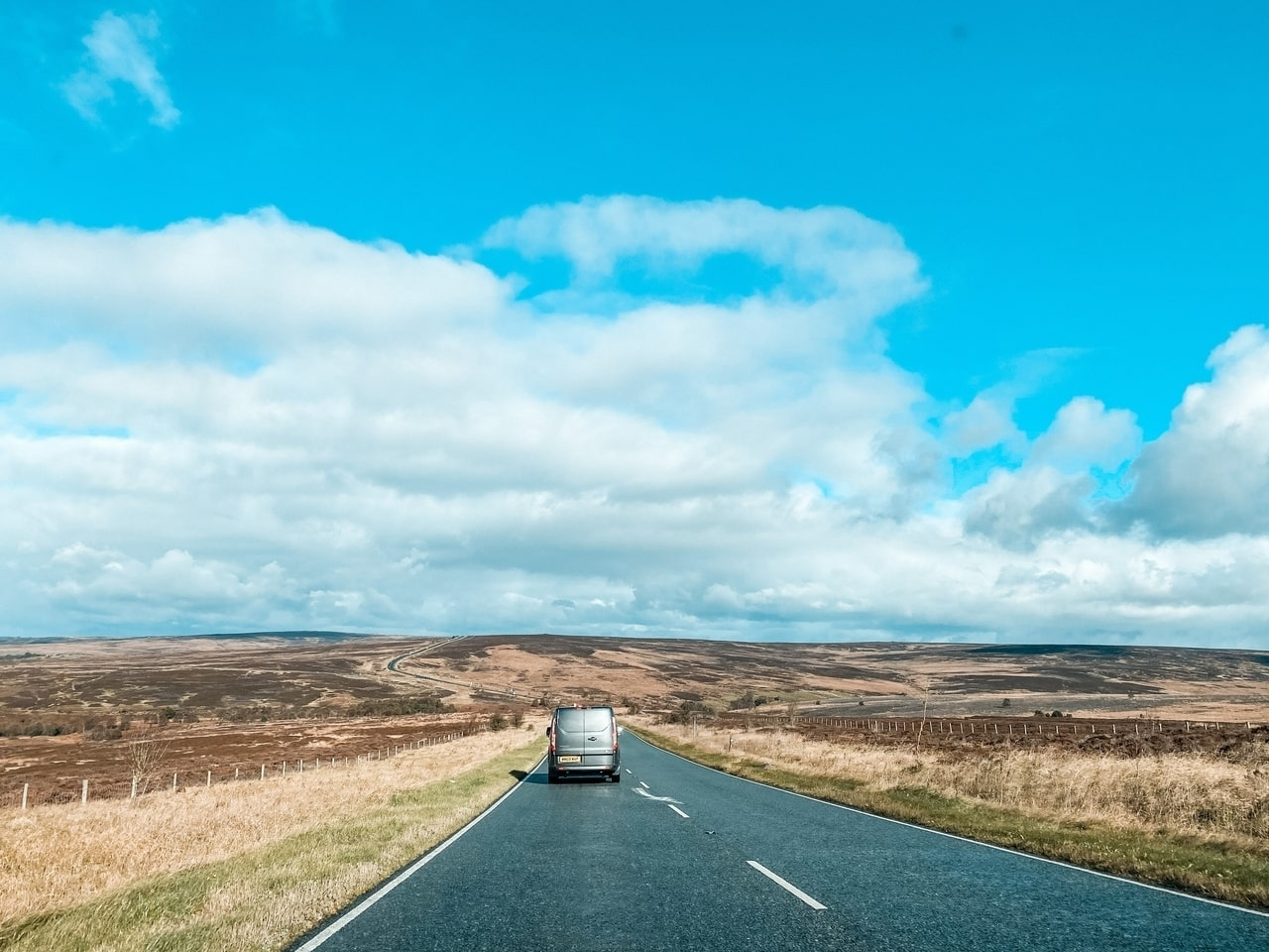 Driving over the North Yorkshire Moors in England