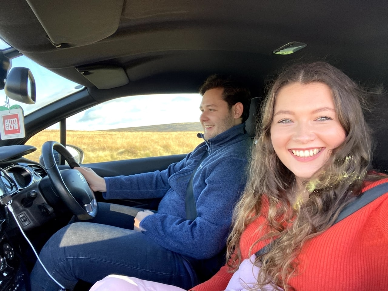 Friends road tripping on the Yorkshire coast UK