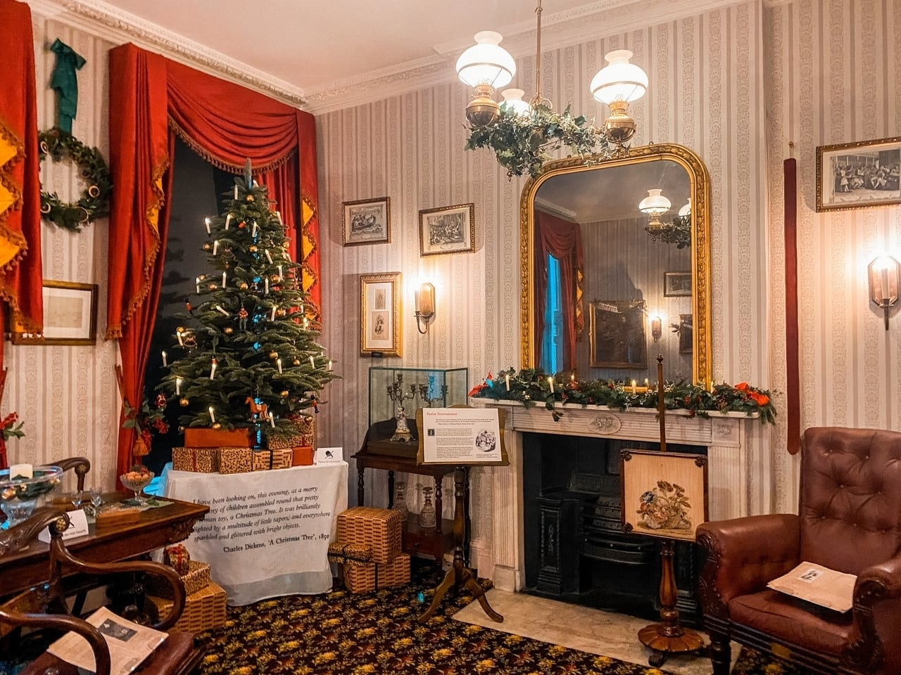 Charles Dickens museum in London at Christmas, with a christmas tree