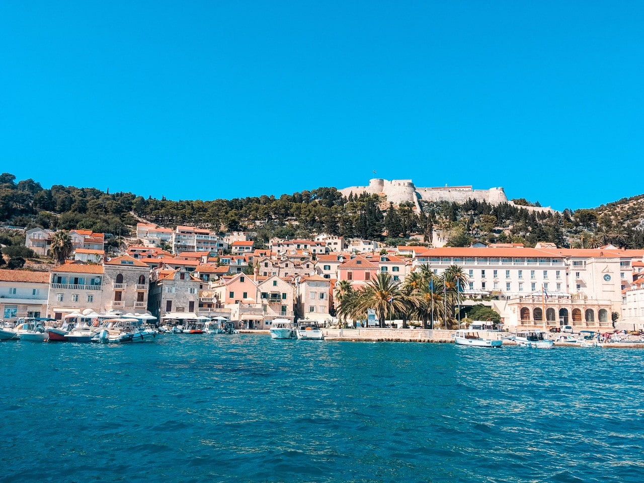 View of Hvar Town during the day from the ferry from Split.
