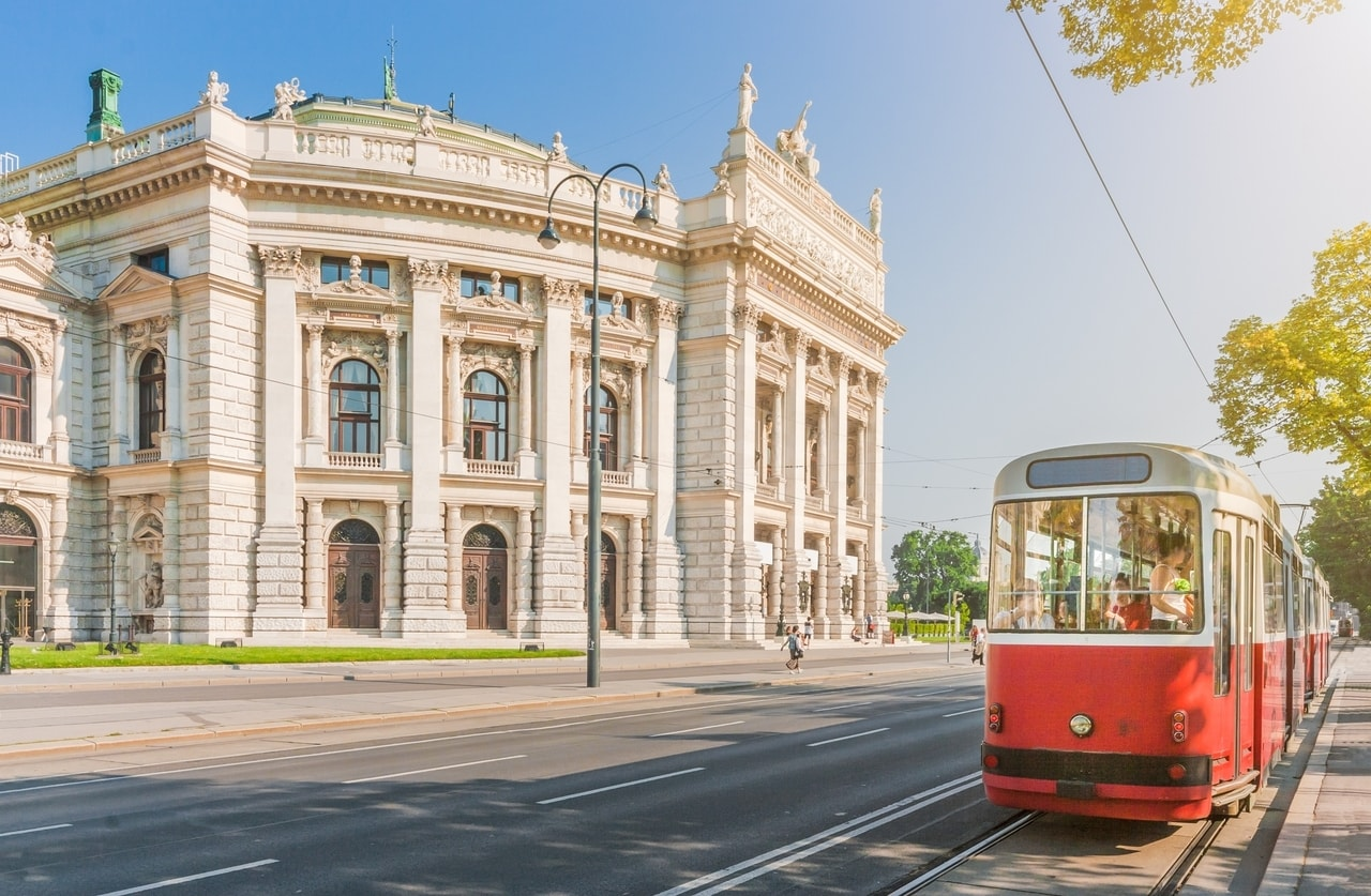 Trams passing the Vienna Opera House, a place that makes Vienna worth visiting.