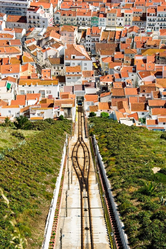 View from the top of the Nazare funicular one of the best things to do in Nazare, Portugal.