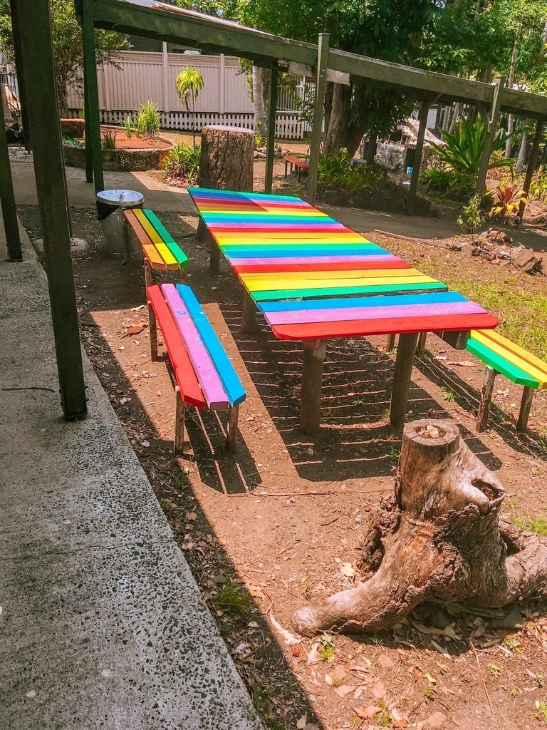 Colourful benches in the Australia hippie town