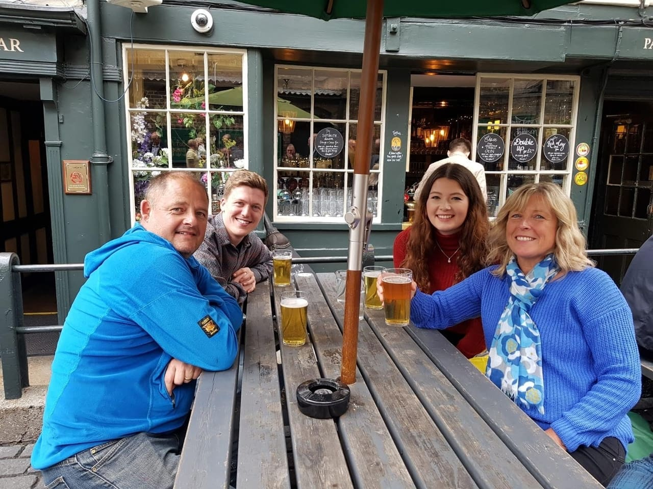 Family at The George Inn pub in London