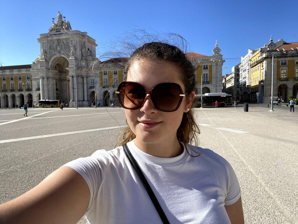Selfie of a travel blogger in Lisbon Portugal