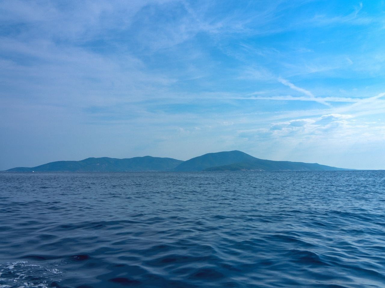Blue skies and islands on the adriatic sea
