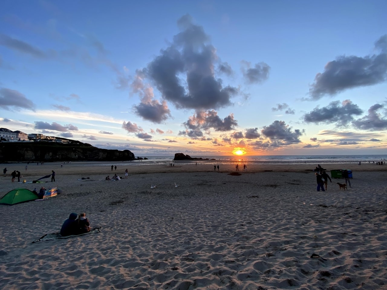 Sunset in Cornwall in summer