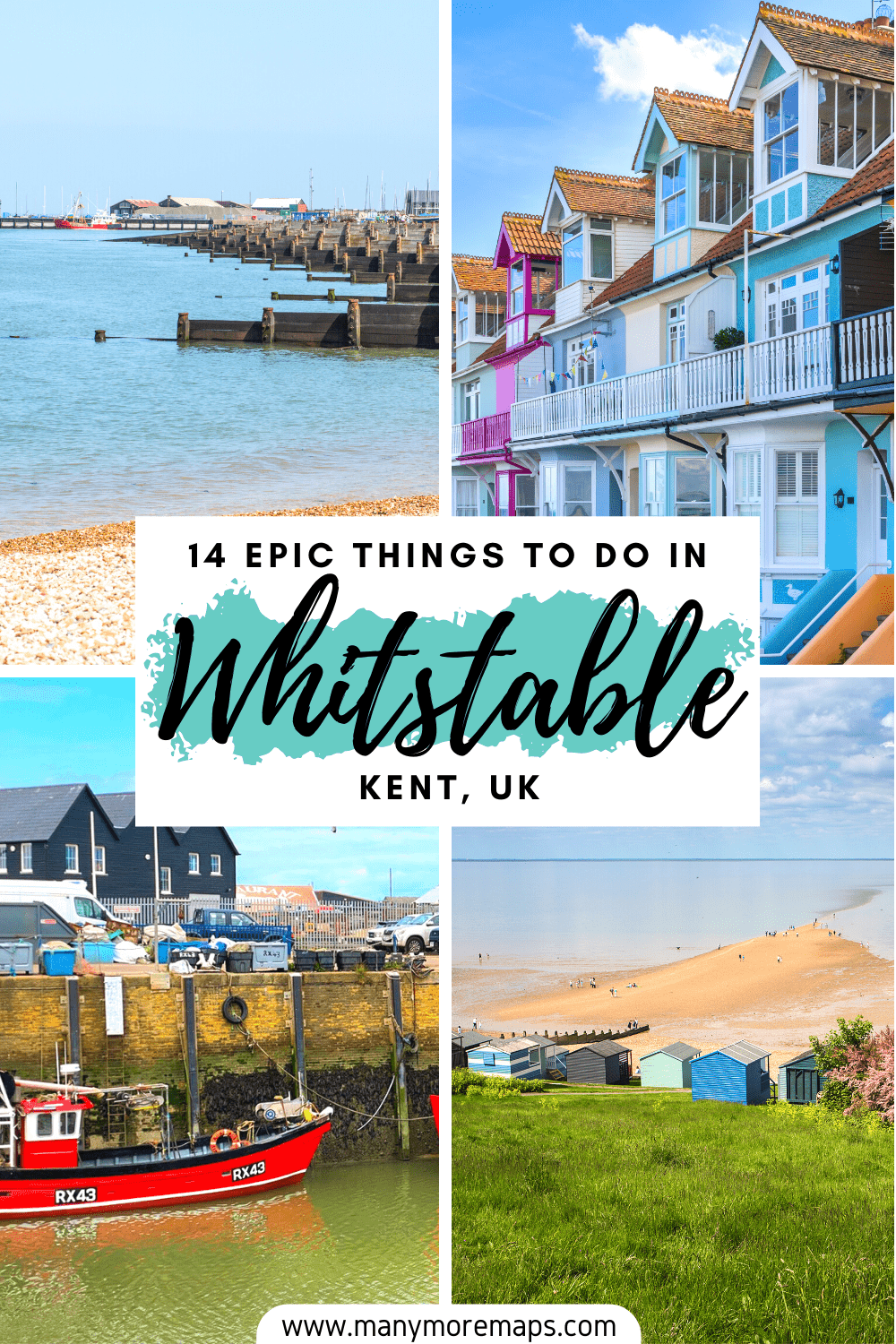 The very best things to do in Whitstable, Kent, one of the best day trips from London. Explore the Kent coast during one day or a weekend in Whitstable. Check out the Whitstable beaches, the Whitstable oysters, explore the Kent beaches, castles and best cafes and restaurants. Whitstable Harbour Kent England, Kent seaside towns, Whitstable beach huts, what to do in Whitstable, things to do near Canterbury, Whitstable Oyster Company, Whitstable castle
