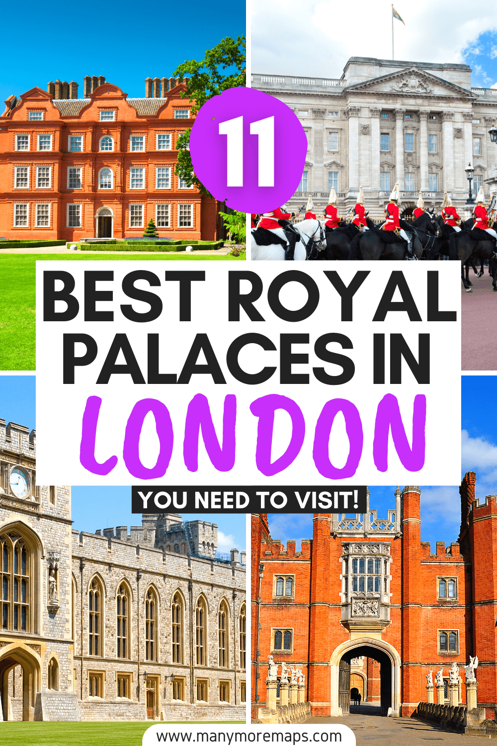 The very best royal palaces and attractions that you can't miss on a trip to London, England! Buckingham Palace, Houses of Parliament, Kew Gardens and Kew Palace, Kensington Palace, Tudor palaces and history in London, Lambeth Palace, Windsor Castle, Hampton Court Palace, Eltham Palace, the Banqueting House, royal family attractions in the UK, London royal guards, changing of the guard London, london royal aesthetic, London palace of Westminster, fun things to do in London, what to see in London