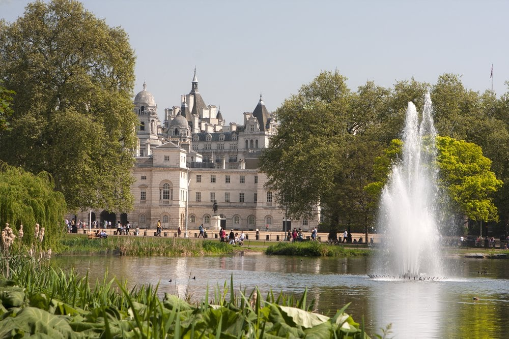 Fountains and buildings in St James' Park, England